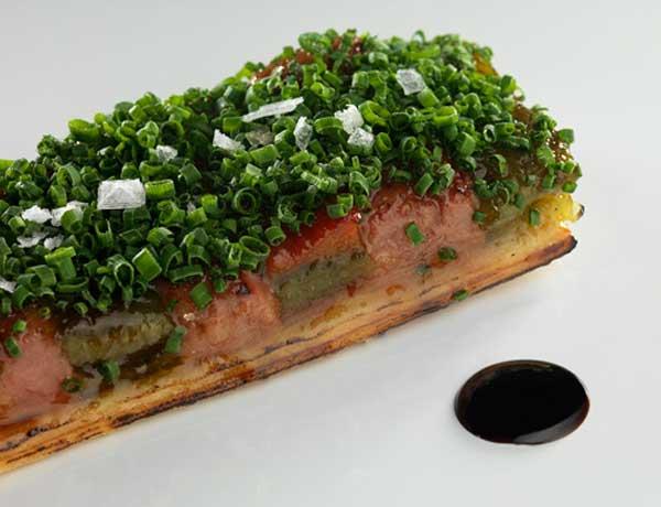 Coca de foie con verduras, SOT