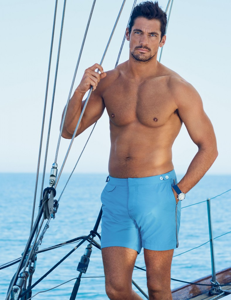 David Gandy for Autograph Light Blue Sports Stripe Tailored Fit Mid Length Quick Dry Swim Shorts -ú29.50