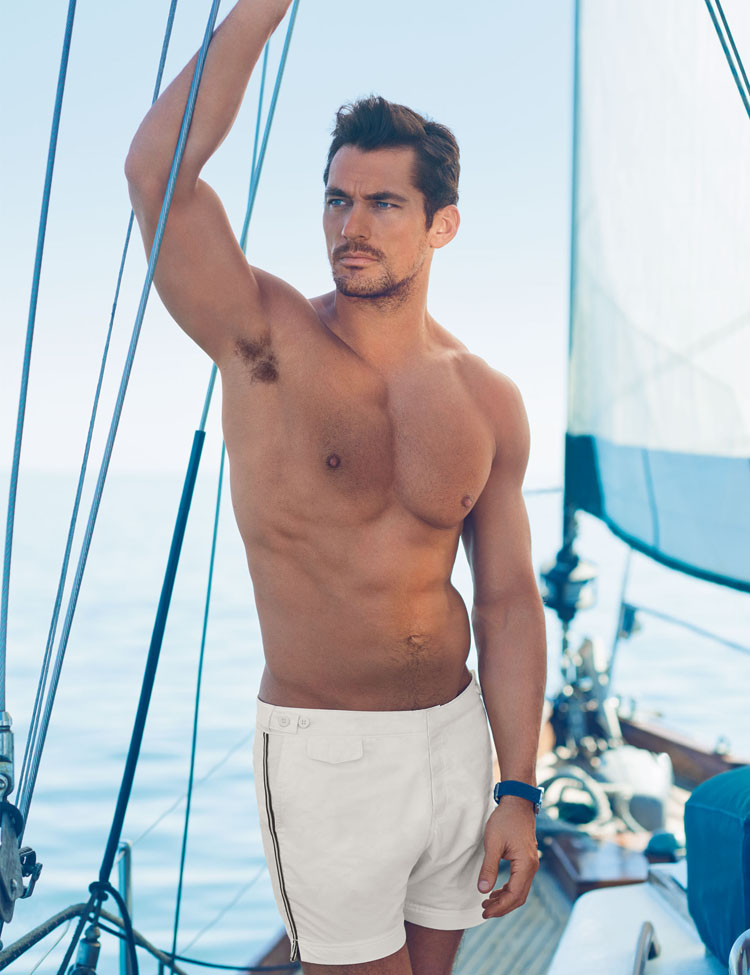 David Gandy for Autograph White Sports Stripe Tailored Fit Mid Length Quick Dry Swim Shorts -ú29.50
