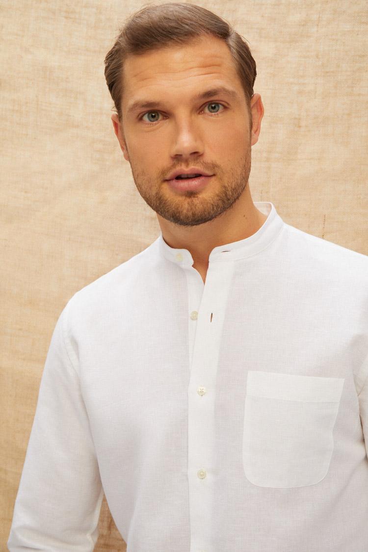 camisa-blanca-de-cuello-mao-de-lino-para-hombre-moda-masculina-de-verano